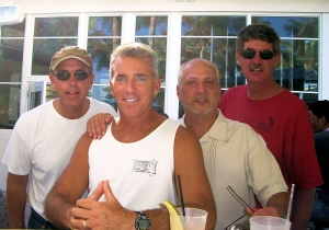 Recent Trouble in Florida.  (L-R: Gary Bragar SHS '76, Jimmy Mallon, Danny Helme and Matt Swanson SHS '75.  South Beac